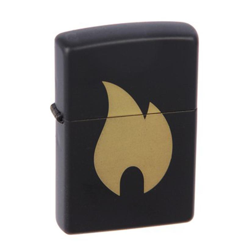 Зажигалка ZIPPO Flame с покрытием Black Matte, латунь/сталь, чёрная, матовая, 36x12x56 мм