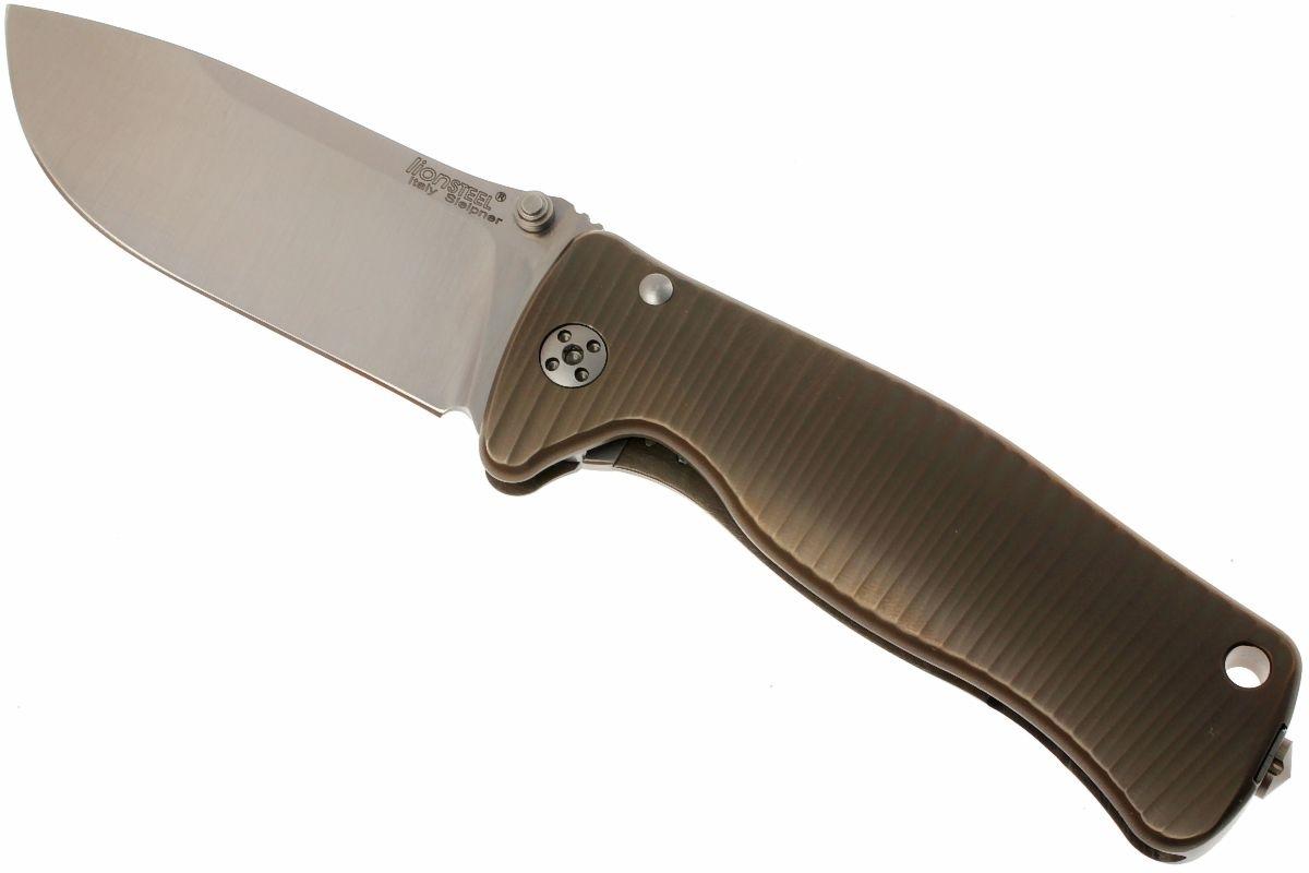 Фото 8 - Нож складной LionSteel SR2 B (BRONZE) Mini, сталь Uddeholm Sleipner® Satin, рукоять титан по технологии Solid®, бронзовый от Lion Steel