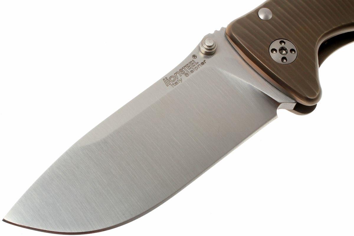 Фото 9 - Нож складной LionSteel SR2 B (BRONZE) Mini, сталь Uddeholm Sleipner® Satin, рукоять титан по технологии Solid®, бронзовый от Lion Steel