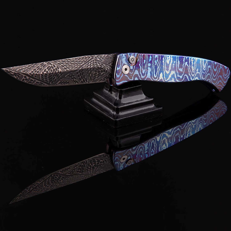 Фото - Автоматический складной нож Custom Brend Auto #2 (small), Mosaic Damascus, Titanium Laminate от Pro-Tech