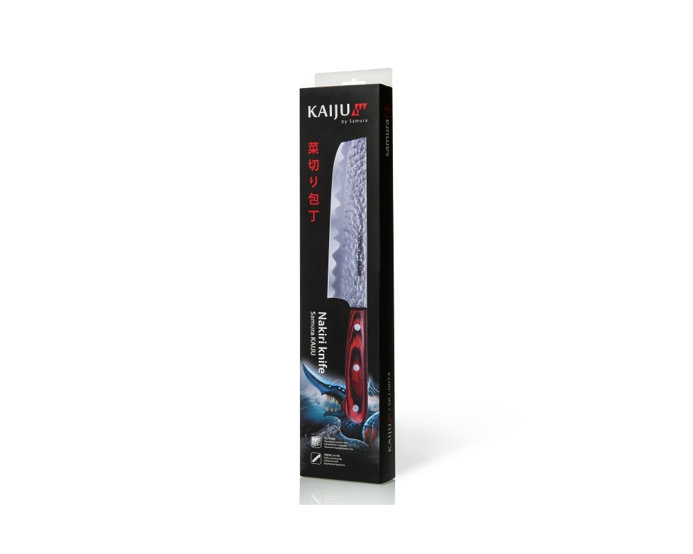 Фото 6 - Нож кухонный Samura KAIJU Накири - SKJ-0074, сталь AUS-8, рукоять дерево, 167 мм