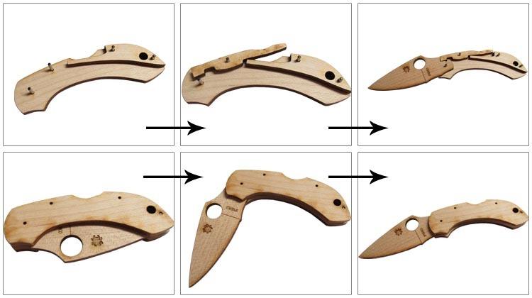 Фото 9 - Сувенирный складной нож (дерево) Dragonfly Wooden Kit, WDKIT1 от Spyderco