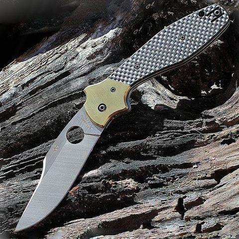 Нож складной Schempp Bowie Spyderco 190CFP, сталь Crucible CPM® S30V™ Satin Plain, рукоять карбон/стеклотекстолит G10/латунь, чёрный. Вид 14