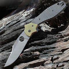 Нож складной Schempp Bowie Spyderco 190CFP, сталь Crucible CPM® S30V™ Satin Plain, рукоять карбон/стеклотекстолит G10/латунь, чёрный, фото 14