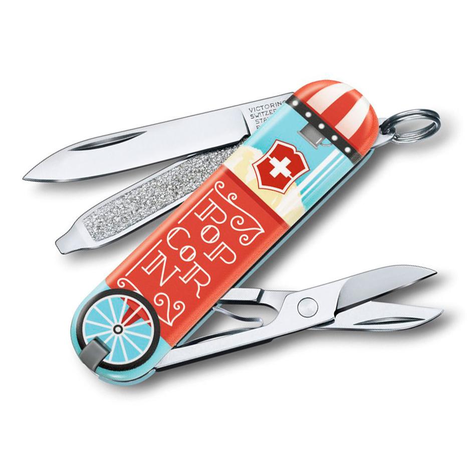 Фото - Нож перочинный Victorinox Classic Let It Pop, сталь X55CrMo14, рукоять Cellidor® нож перочинный victorinox classic mexican tacos сталь x55crmo14 рукоять cellidor®