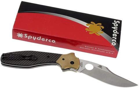 Нож складной Schempp Bowie Spyderco 190CFP, сталь Crucible CPM® S30V™ Satin Plain, рукоять карбон/стеклотекстолит G10/латунь, чёрный. Вид 5