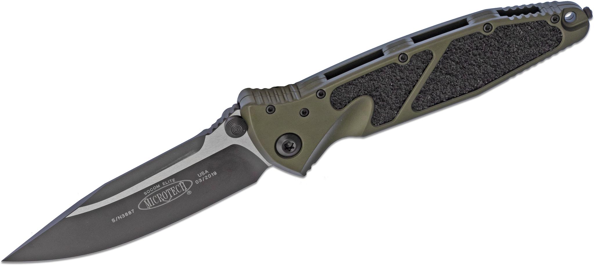 Складной нож Microtech SOCOM ELITE, сталь CTS-204P, рукоять зеленый алюминий