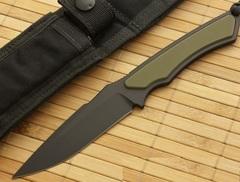 Нож с фиксированным клинком Phrike (Black SpartaCoat/Green G-10/Black Sheath) 10.8 см.