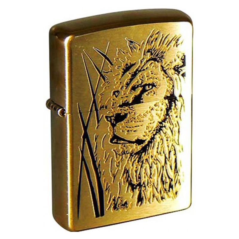 Зажигалка ZIPPO Proud Lion Brushed Brass, латунь, золотистый, матовая, 36х56х12 мм
