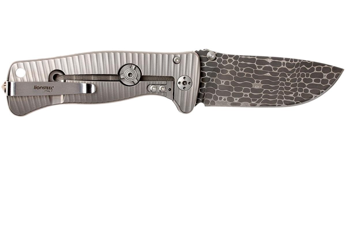 Фото 9 - Нож складной LionSteel SR2DL G Mini, сталь клинка дамасская сталь Chad Nichols Damascus