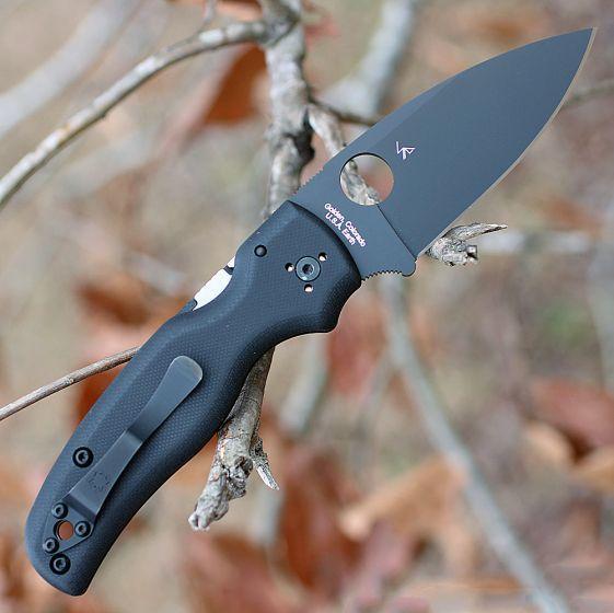 Фото 12 - Складной нож Spyderco Shaman 229GPBK, сталь CPM® S30V™ Black DLC Coated Plain, рукоять стеклотекстолит G10, чёрный
