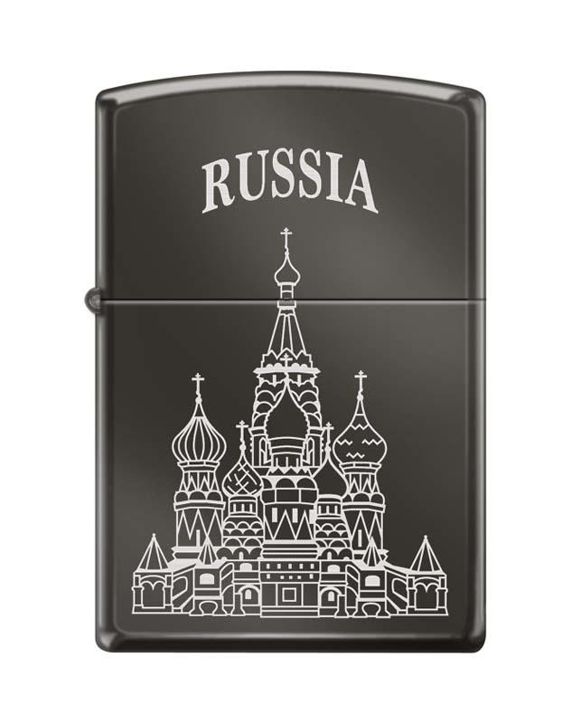 Зажигалка ZIPPO Собор Василия Блаженного, с покрытием Black Ice®, латунь/сталь , чёрная, 36x12x56 мм