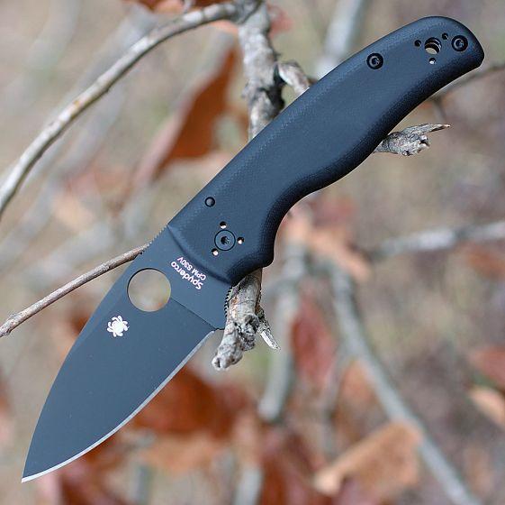 Фото 13 - Складной нож Spyderco Shaman 229GPBK, сталь CPM® S30V™ Black DLC Coated Plain, рукоять стеклотекстолит G10, чёрный