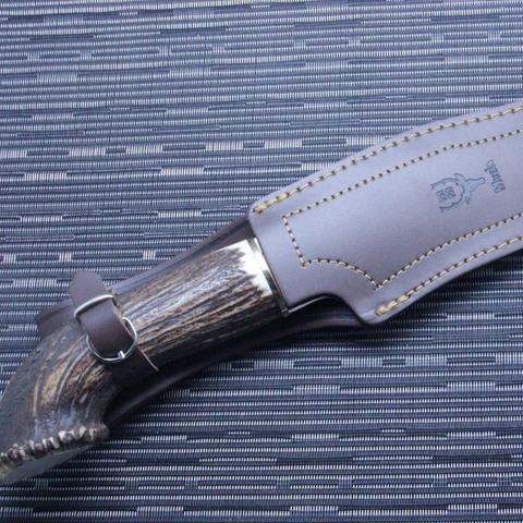 Нож с фиксированным клинком Muela Lobo, сталь X50CrMoV15, рукоять резной олений рог. Вид 3