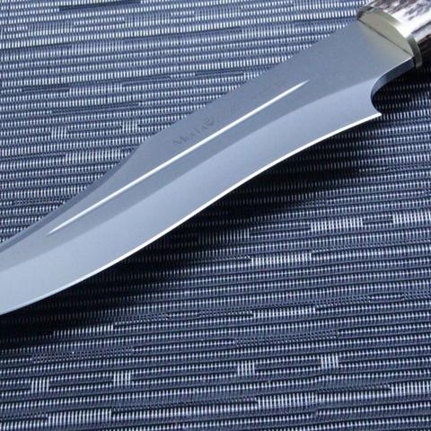 Нож с фиксированным клинком Muela Lobo, сталь X50CrMoV15, рукоять резной олений рог. Вид 4