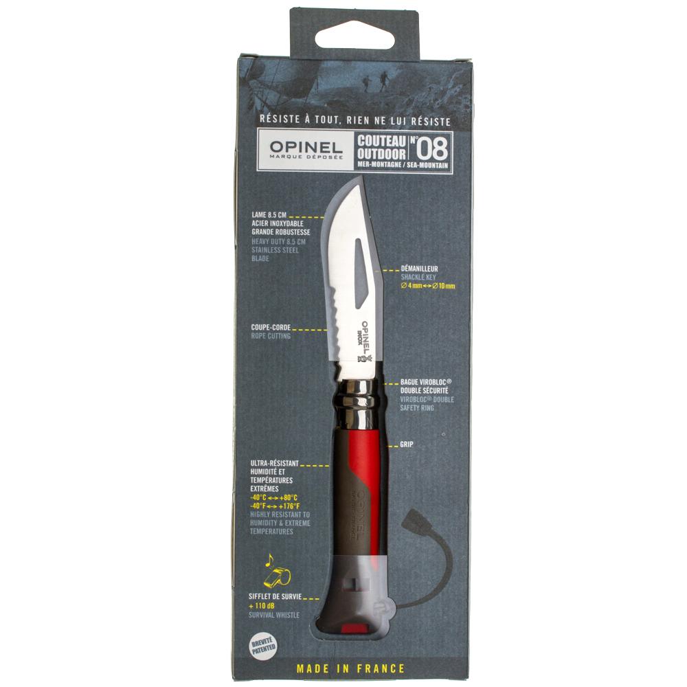 Фото 9 - Складной Нож Opinel №8 VRI OUTDOOR EARTH, нержавеющая сталь Sandvik 12C27, красный, 001714