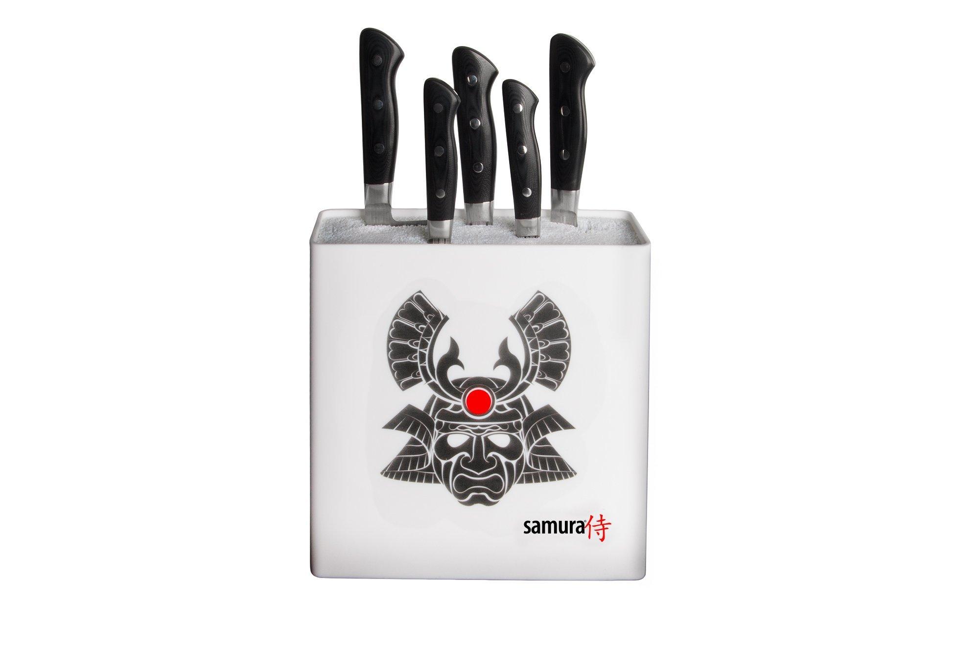 Фото 2 - Подставка универсальная для ножей Samura 230x225x82 мм, пластиковая (белая, самурай)