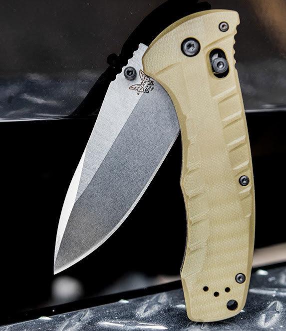 Фото 5 - Нож складной Benchmade Turret, Satin Finish S30V Blade, OD Green G-10 Handle