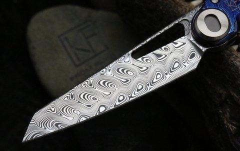 Складной нож CKF Terra, дамасская сталь, рукоять Timaskus. Вид 2