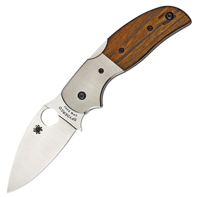 Фото 3 - Нож складной Sage 4 Ironwood & Titanium Spyderco 123WDP, сталь Crucible CPM® S30V™ Satin Plain, рукоять титан/дерево