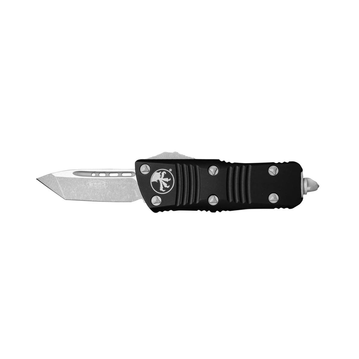 Автоматический фронтальный выкидной нож Microtech Mini Troodon 240-10, сталь CTS-204P, рукоять черный алюминий