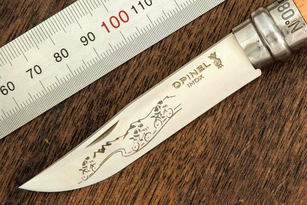 Фото 7 - Складной Нож Opinel №8 VRI Animalia Cycling, нержавеющая сталь Sandvik 12C27, 001790, гравировка велосипедист