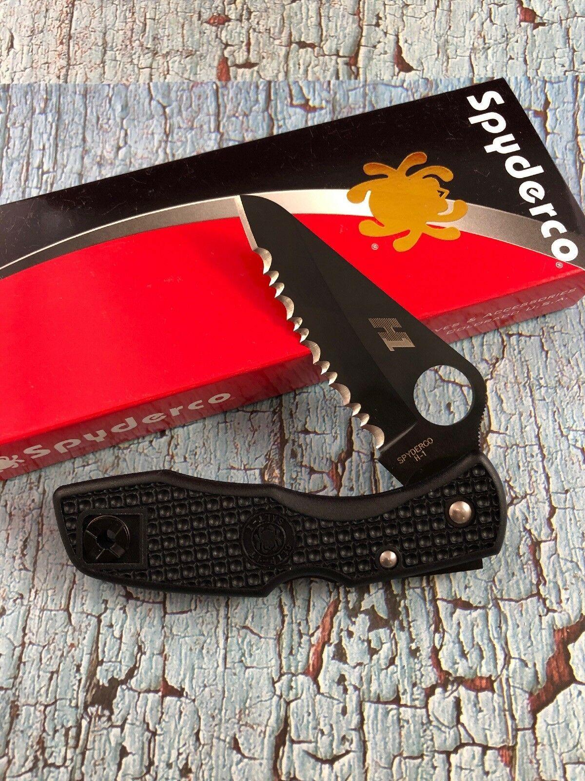 Фото 10 - Складной нож Salt 1 - Spyderco C88SBBK, сталь H-1 Black Titanium Nitride Serrated, рукоять термопластик FRN, чёрный