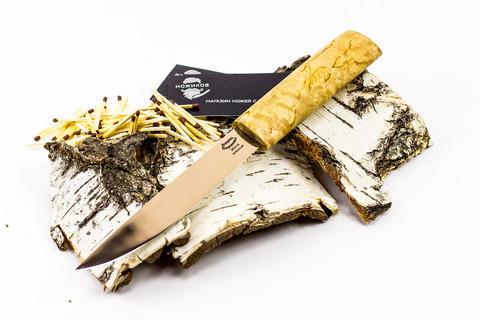 Нож Якут, сталь 95х18, рукоять карельская береза. Вид 2
