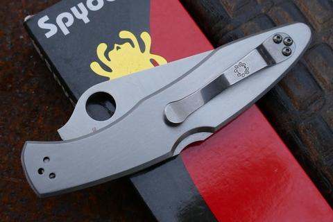 Складной нож Spyderco Police Full Serrated Edge, сталь VG 10, стальная рукоятка. Вид 4