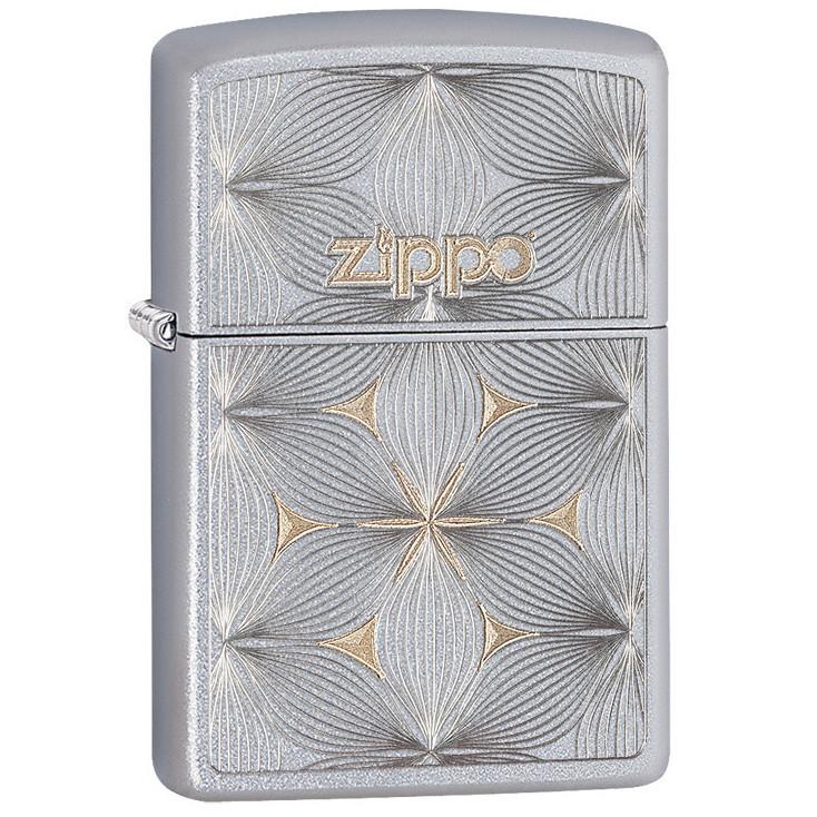 Зажигалка ZIPPO Classic с покрытием Satin Chrome™, латунь/сталь, серебро, матовая, 36x12x56 мм зажигалка zippo classic с покрытием cerulean™ латунь сталь синяя глянец 36x12x56 мм