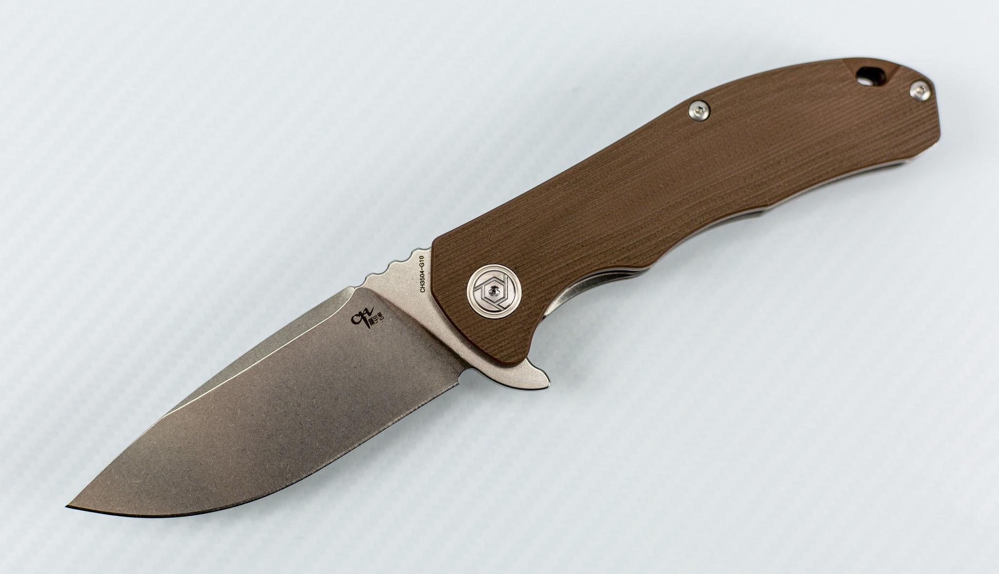 Складной нож CH3504 сталь D2, цвет коричневый