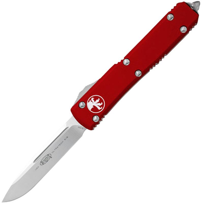 Автоматический выкидной нож Microtech Ultratech S/E, сталь CTS-204P, рукоять красный алюминий, сатин клинок