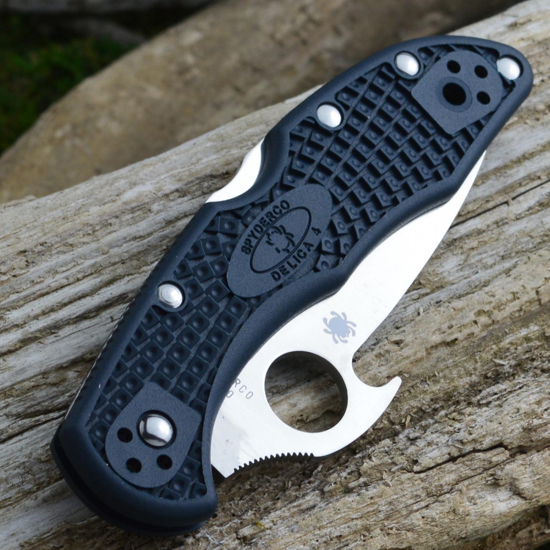 Фото 9 - Нож складной Delica 4 Emerson Wave Opener® Spyderco 11PGYW, сталь VG-10 Satin Plain, рукоять FRN, чёрный
