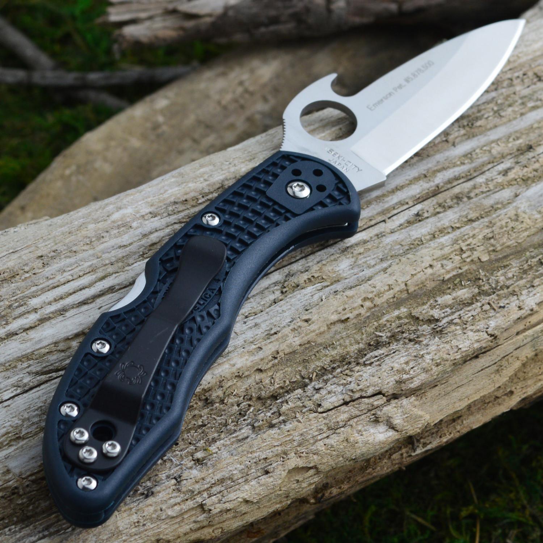 Фото 10 - Нож складной Delica 4 Emerson Wave Opener® Spyderco 11PGYW, сталь VG-10 Satin Plain, рукоять FRN, чёрный