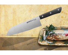 "Нож кухонный овощной сантоку Samura ""HARAKIRI"" (SHR-0095B) 175 мм, сталь AUS-8, рукоять ABS пластик, чёрный, фото 1"