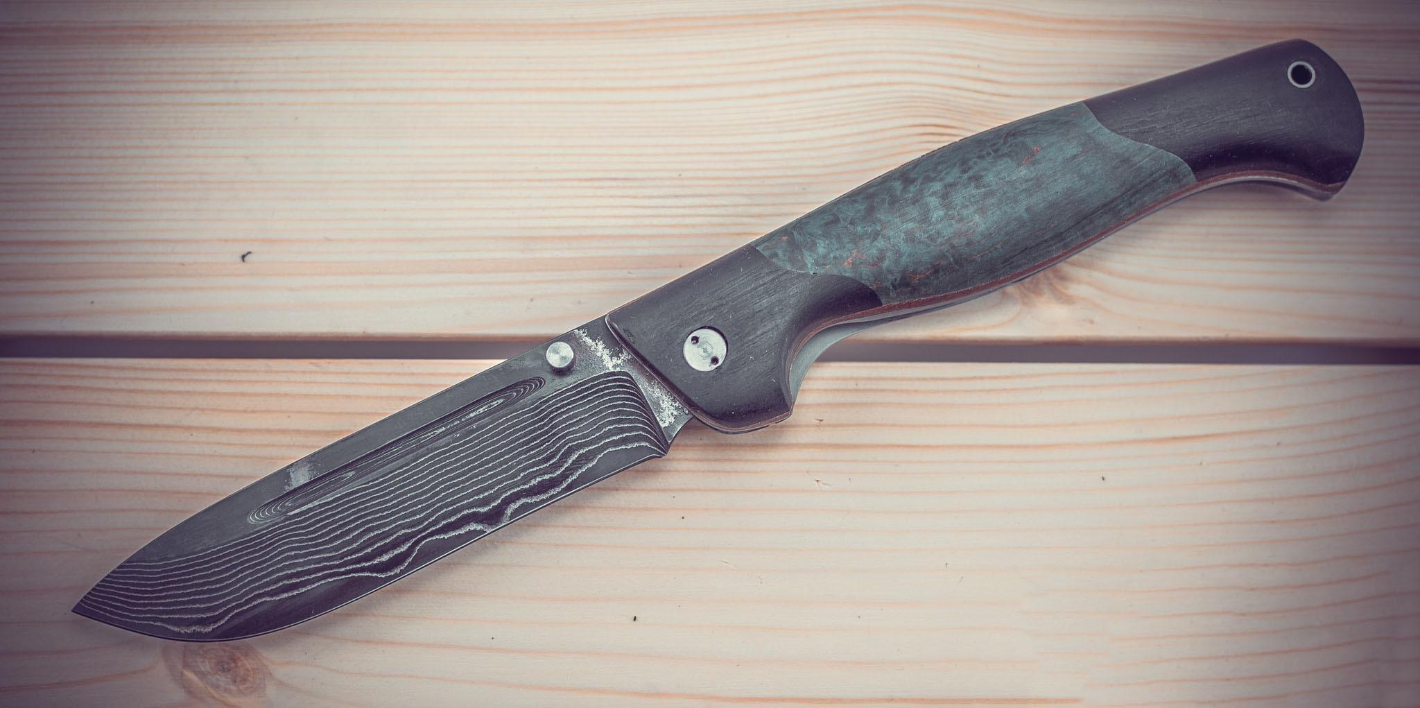 Складной нож Партнер-2, ламинат, карельская береза