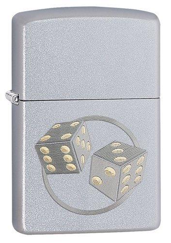 Зажигалка ZIPPO Classic Кости с покрытием Satin Chrome™, латунь/сталь, серебристая, матовая, 36x12x56 мм зажигалка zippo classic с покрытием brushed chrome латунь и сталь серебристая матовая 36x12x56 мм