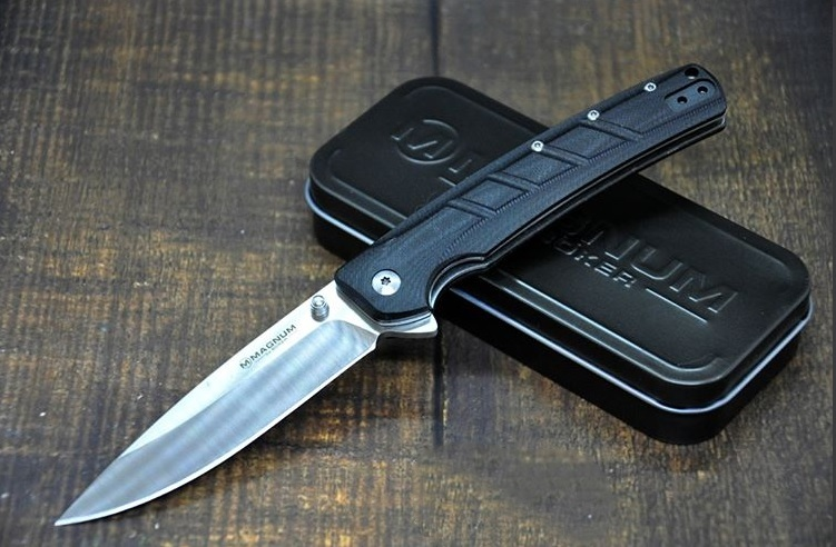 Фото 4 - Нож складной Boker Magnum Gatto Nero, сталь 440A Satin Plain, рукоять стеклотекстолит G10, 01MB724