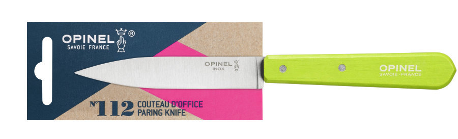Нож столовый Opinel №112, деревянная рукоять, блистер, нержавеющая сталь, зеленый