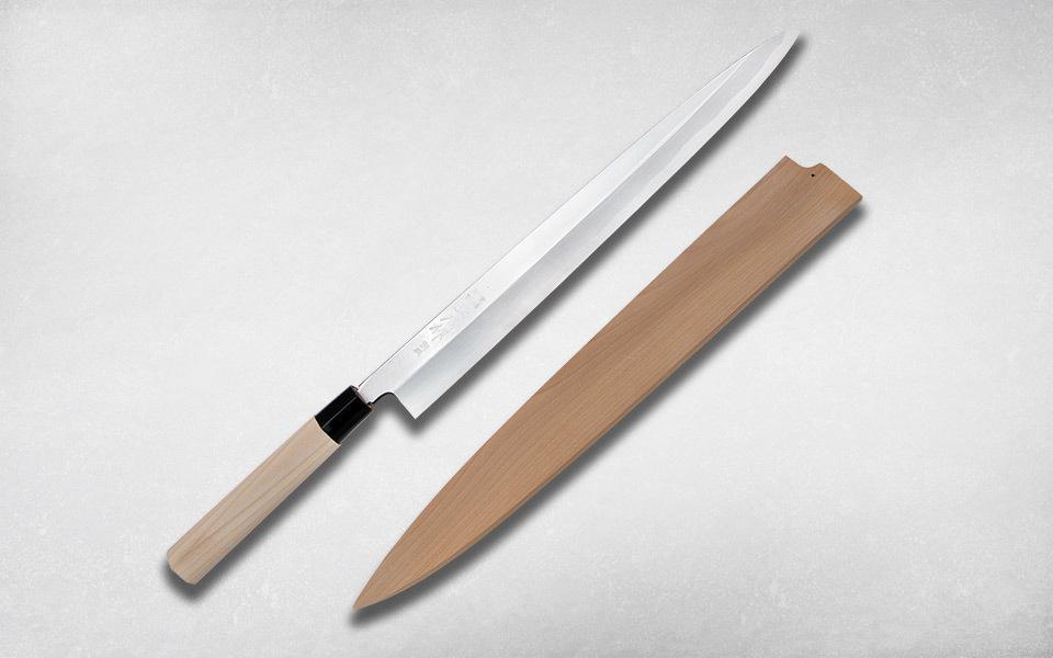 Нож кухонный Янагиба 360 мм, Masahiro, 16223C, сталь Ки Гами, магнолия, коричневый