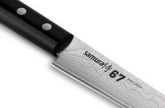 """Нож кухонный """"Samura 67"""" для нарезки  195 мм, дамаск 67 слоев, черная пакка, фото 5"""