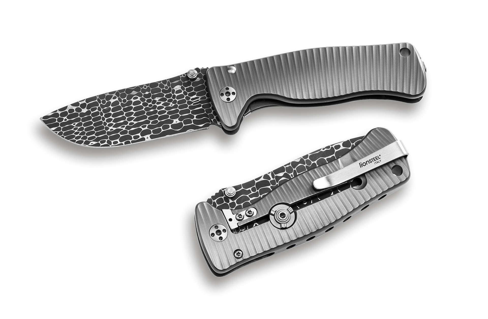 Фото 3 - Нож складной LionSteel SR2DL G Mini, сталь клинка дамасская сталь Chad Nichols Damascus