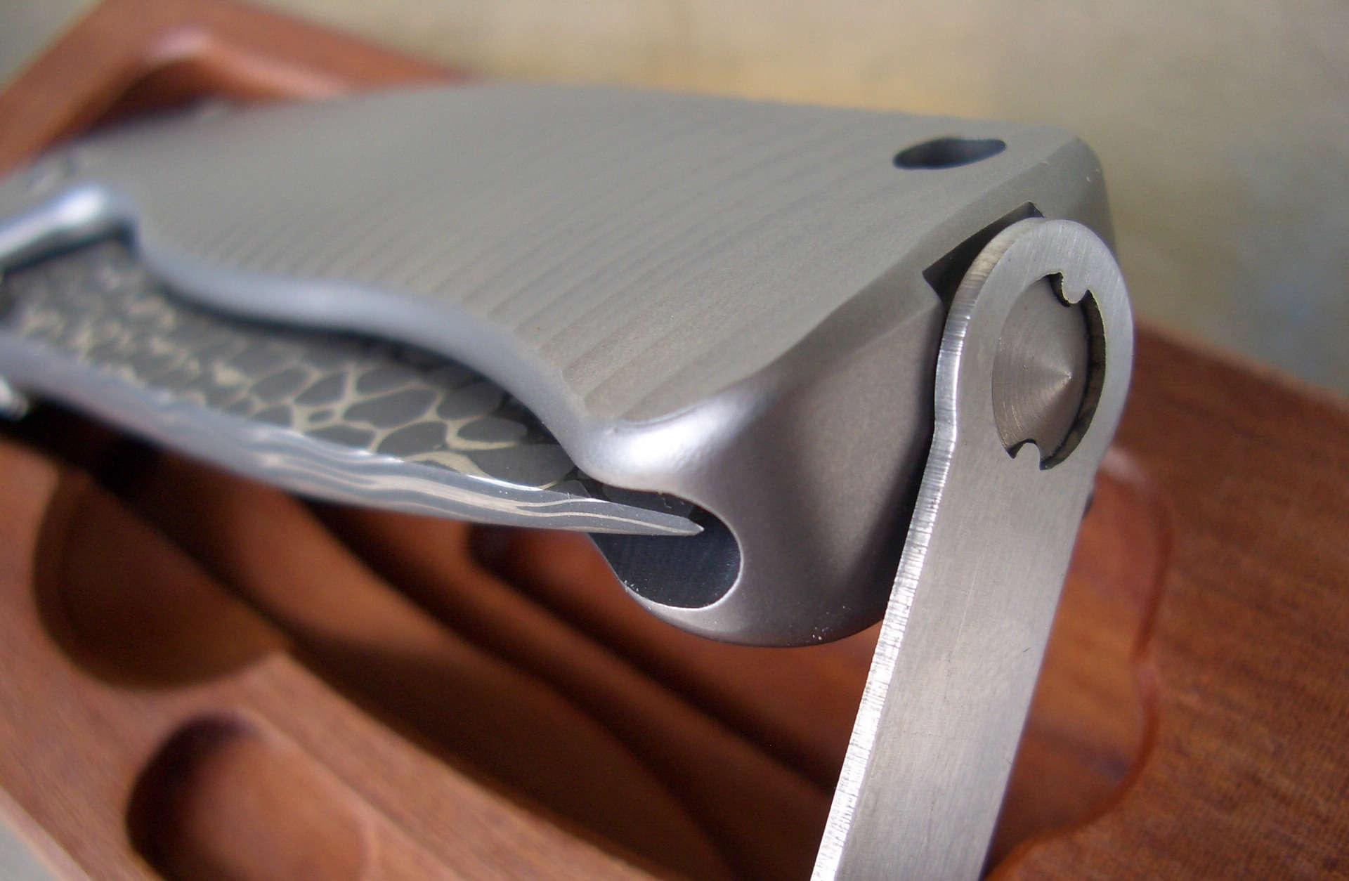 Фото 5 - Нож складной LionSteel SR2DL G Mini, сталь клинка дамасская сталь Chad Nichols Damascus