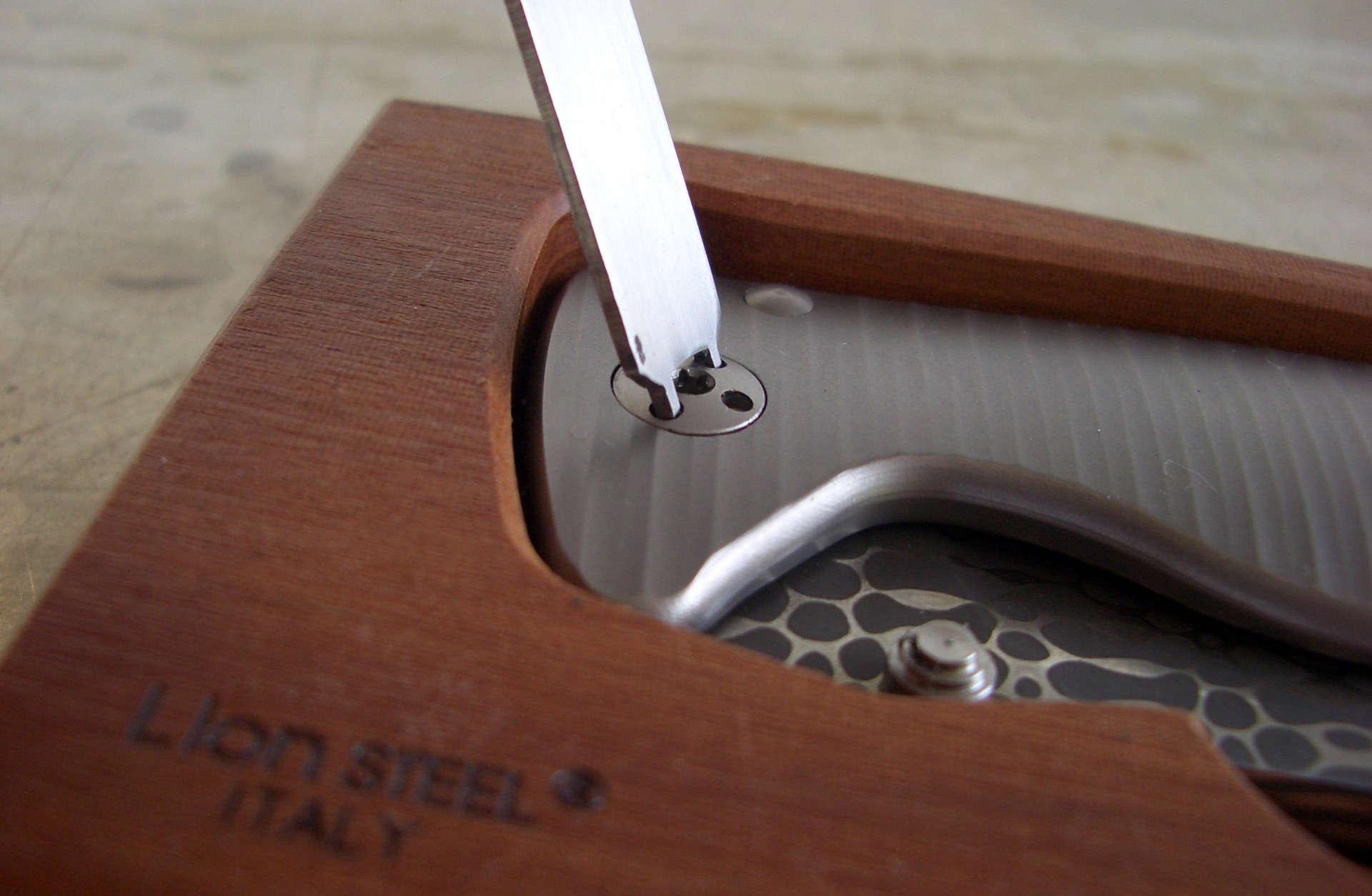 Фото 6 - Нож складной LionSteel SR2DL G Mini, сталь клинка дамасская сталь Chad Nichols Damascus