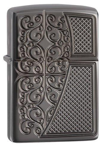 Зажигалка ZIPPO Armor™ с покрытием Black Ice®, латунь/сталь,чёрная, глянцевая, 36x12x56 мм зажигалка zippo slim black ice 3 1 5 5 см
