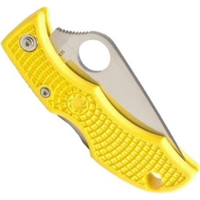 Фото 9 - Нож складной Ladybug 3 Salt - Spyderco LYLP3, сталь H1 Satin Plain, рукоять термопластик FRN, жёлтый