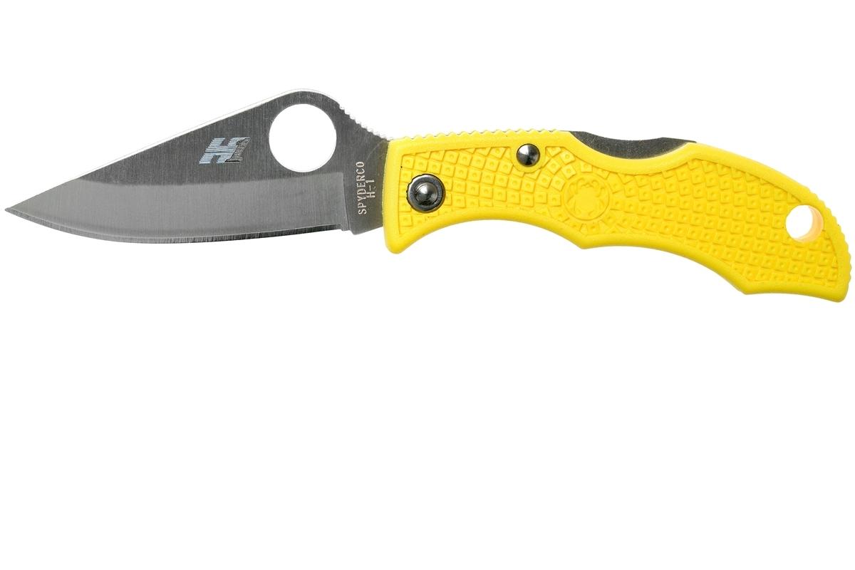 Фото 10 - Нож складной Ladybug 3 Salt - Spyderco LYLP3, сталь H1 Satin Plain, рукоять термопластик FRN, жёлтый