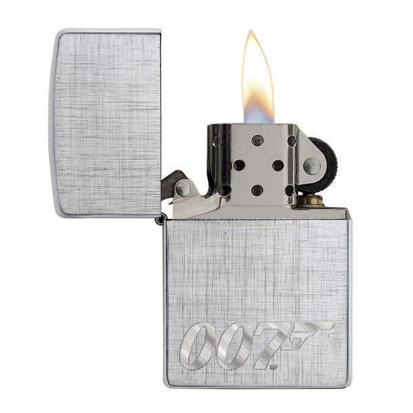Зажигалка ZIPPO James Bond с покрытием Brushed Chrome, латунь/сталь, серебристая, 36x12x56 мм