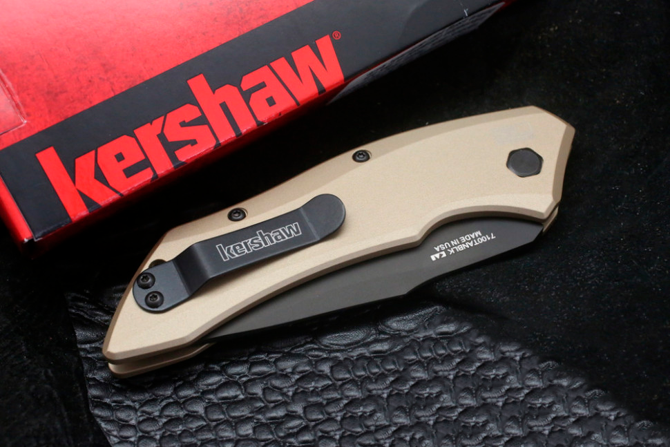 Фото 5 - Складной автоматический нож Kershaw Launch 1 K7100TANBLK, сталь CMP 154, рукоять алюминий