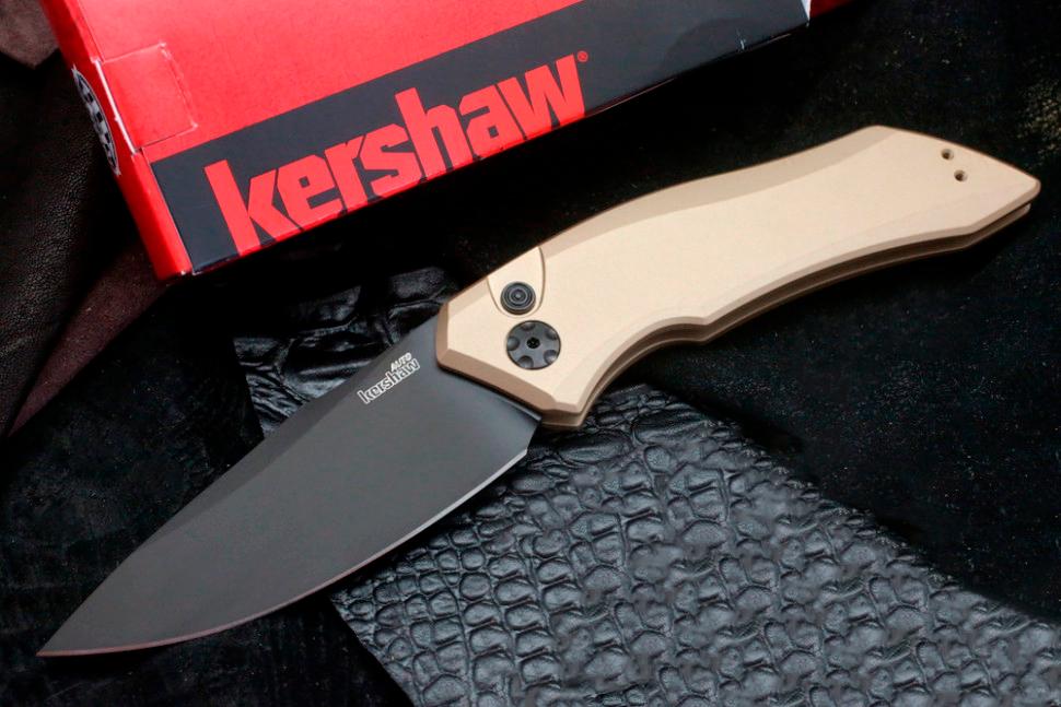 Фото 6 - Складной автоматический нож Kershaw Launch 1 K7100TANBLK, сталь CMP 154, рукоять алюминий